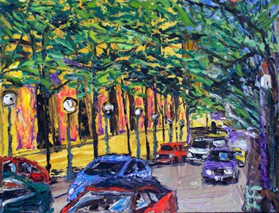 Seattle Fifth Avenue Traffic, oil on canvas by Allen Forrest
