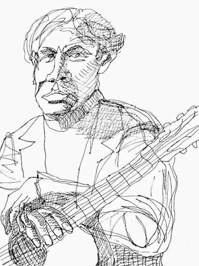 Jazz Guitarist, ink drawing on paper by Allen Forrest