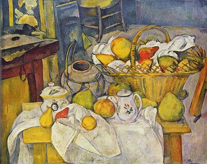 Kitchen Table (Still Life with Fruit Basket): painting by Paul Cézanne
