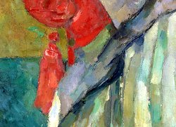 Madame Cézanne in a Red Chair: detail of tassel from painting by Paul Cézanne