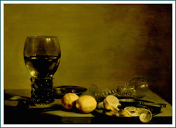 Still Life With Two Lemons: painting by Pieter Claesz, Netherlands (1629)