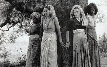 Unknown title and photographer: Archival image of Chipko forest protectors