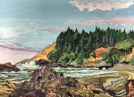 Low tide at Strawberry Hill, Oregon coast: painting by MaRco Elliott