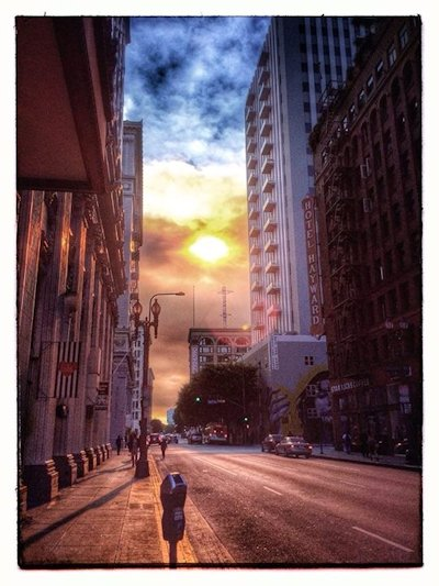 Sunset on 6th Street, photographed by Alexis Rhone Fancher