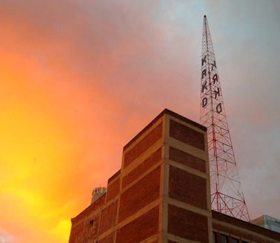 Radio Tower at Sunset, photographed by Alexis Rhone Fancher