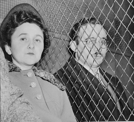 Photograph by Roger Higgins: Julius and Ethel Rosenberg, separated by heavy wire screen as they leave U.S. Court House after being found guilty by jury