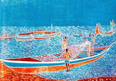 Three Fishermen, woodblock print by Wayland House