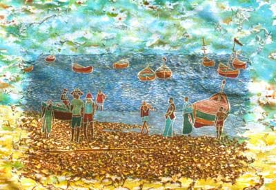 Fishing Village, woodblock print by Wayland House