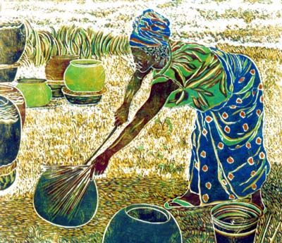 Isatu the Potter, woodblock print by Wayland House