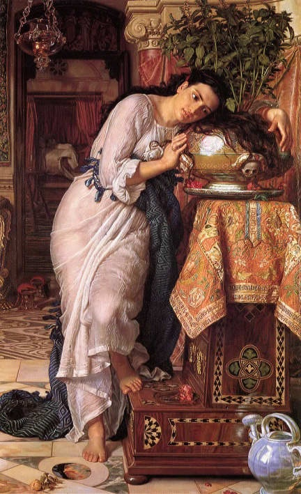 Painting by William Holman Hunt: Isabella and the Pot of Basil