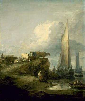 Painting by Thomas Gainsborough: Coastal Scene with Shipping and Cattle