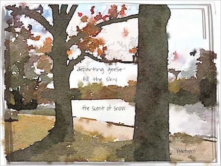 departing geese, haiga (poem and digital painting) by Barbara Kaufmann