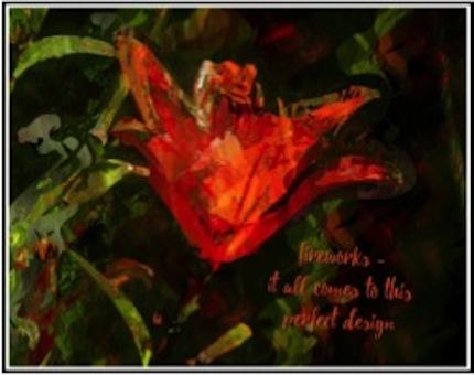 fireworks, haiga (poem and visual art) by Barbara Kaufmann