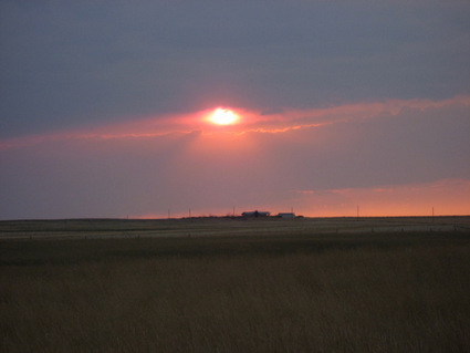 Photograph: Sunset Over Montana Homestead, by Ellaraine Lockie