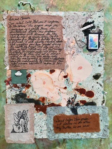 Pollage 77, mixed-media collage and poetry by Ellaraine Lockie and Phyllis Ross
