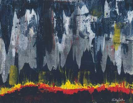 Flint Hills Night Burn: acrylic painting by Skyler Lovelace