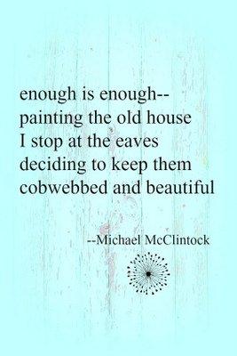 [enough is enough], tanka by Michael McClintock and art by Karen McClintock