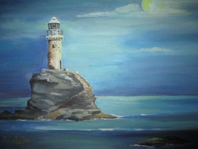 Tourlitis Lighthouse at Night, by Frances Melis