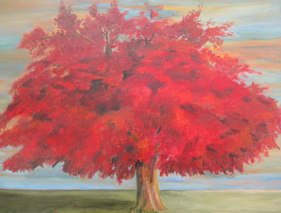 Olive Tree in Fall Foliage, by Frances Melis