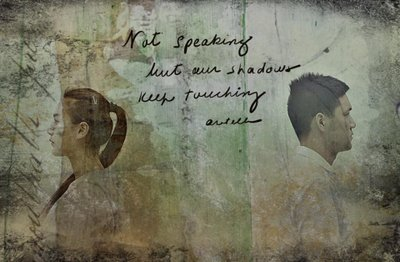 Haiga (poem plus visual art), Not speaking, by Alexis Rotella