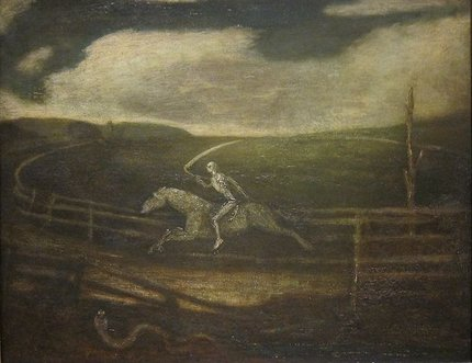 Painting by Albert Pinkham Ryder: Racetrack (Death on a Pale Horse)
