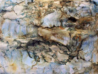 Drowning in the Sea of Samos, mixed-media painting by John Sokol