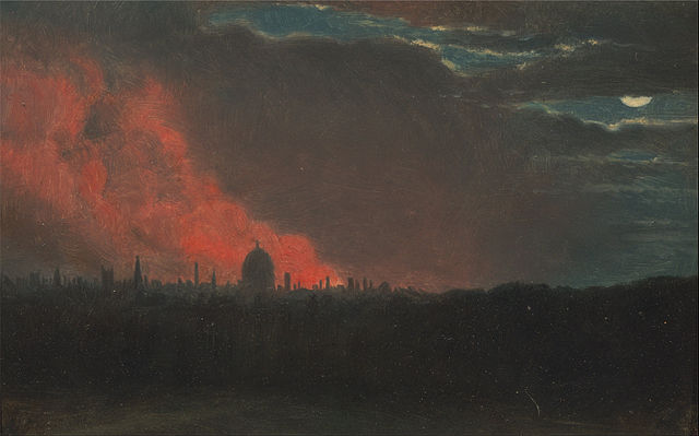 Painting by John Constable: Fire in London, Seen from Hampstead October 16, 1834