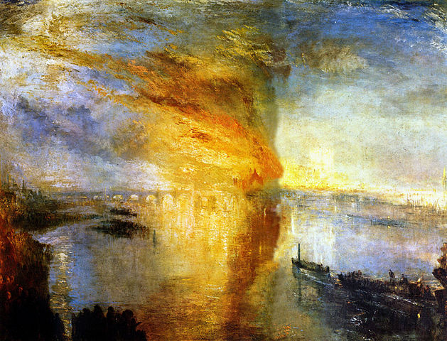 Painting by J.M.W. Turner: The Burning of the Houses of Lords and Commons