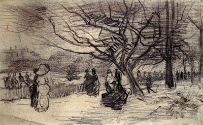 Drawing by Vincent van Gogh: Figures in a Park