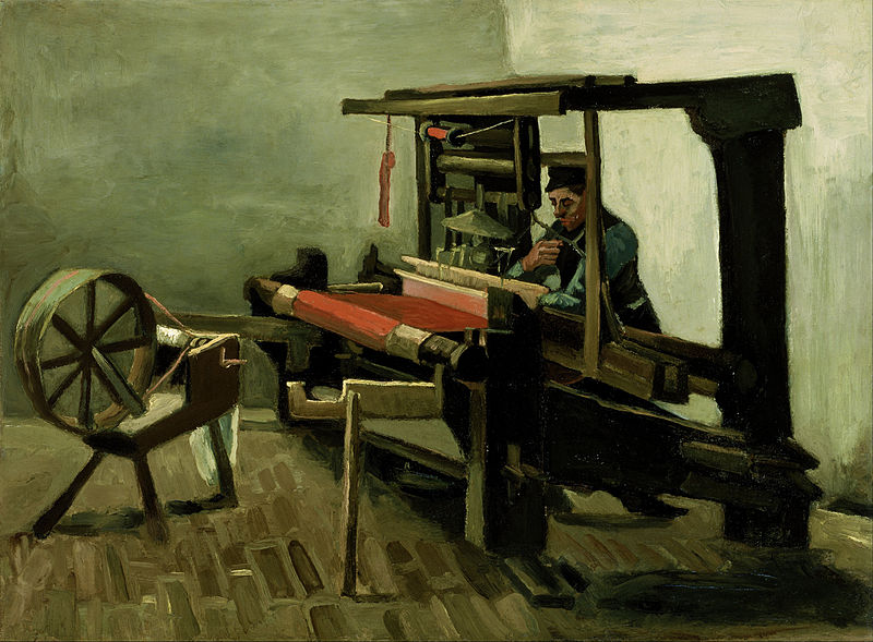 Painting by Vincent van Gogh: Weaver Facing Left with Spinning Wheel
