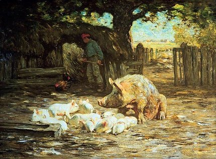 Little White Pigs and Mother: painting by Horatio Walker